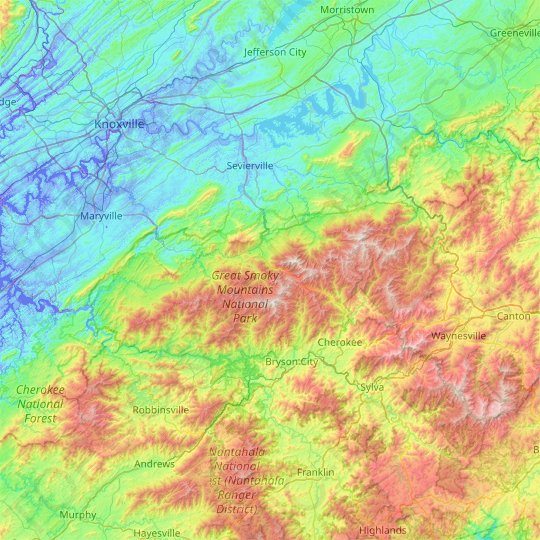Mapa topográfico Great Smoky Mountains National Park, altitud, relieve